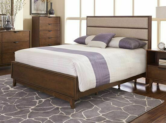 Mid-Mod Queen Upholstered Panel Complete Bed in Cinnamon - B106-34-35-78