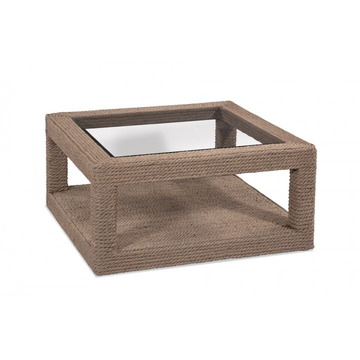 Bassett Mirror Shipley Square Cocktail Table in Natural Jute 4350-LR-130