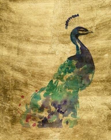 Bassett Mirror Fine Art - Gilded Peacock Splash II
