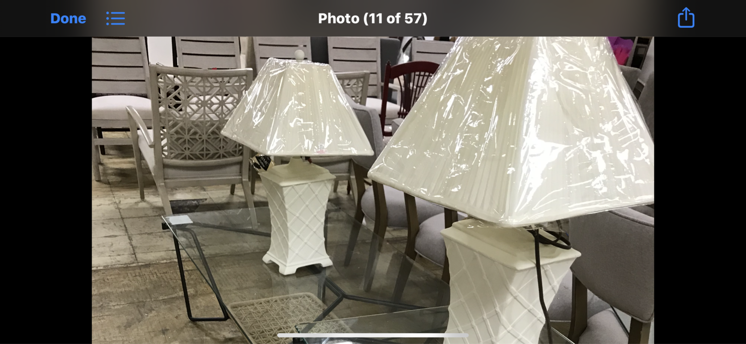 Bassett Mirror Company - White Table Lamps (Pair sold together)