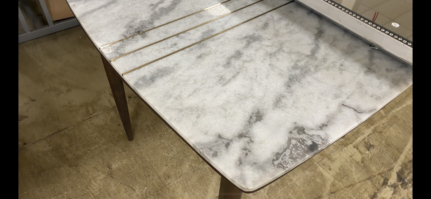 Mid-Century Modern Marble-Top Dining Table
