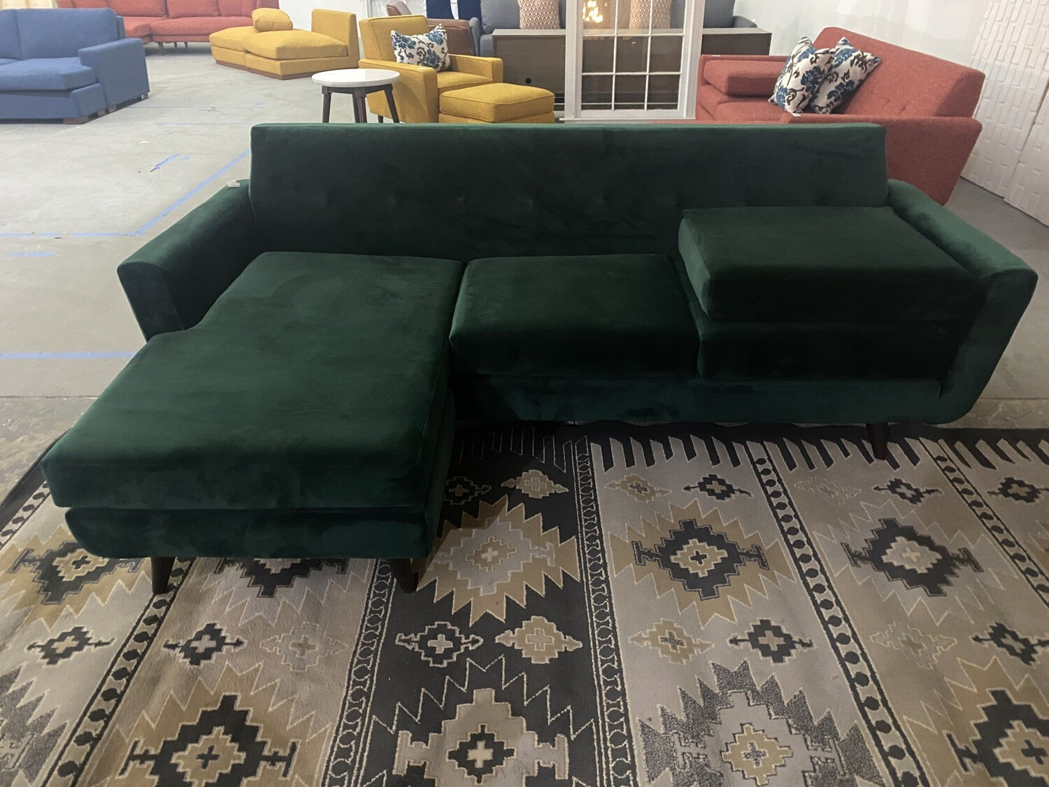JB Hughes Reversible Sectional w/ Extra Sofa Cushion (Royale Evergreen) 3376