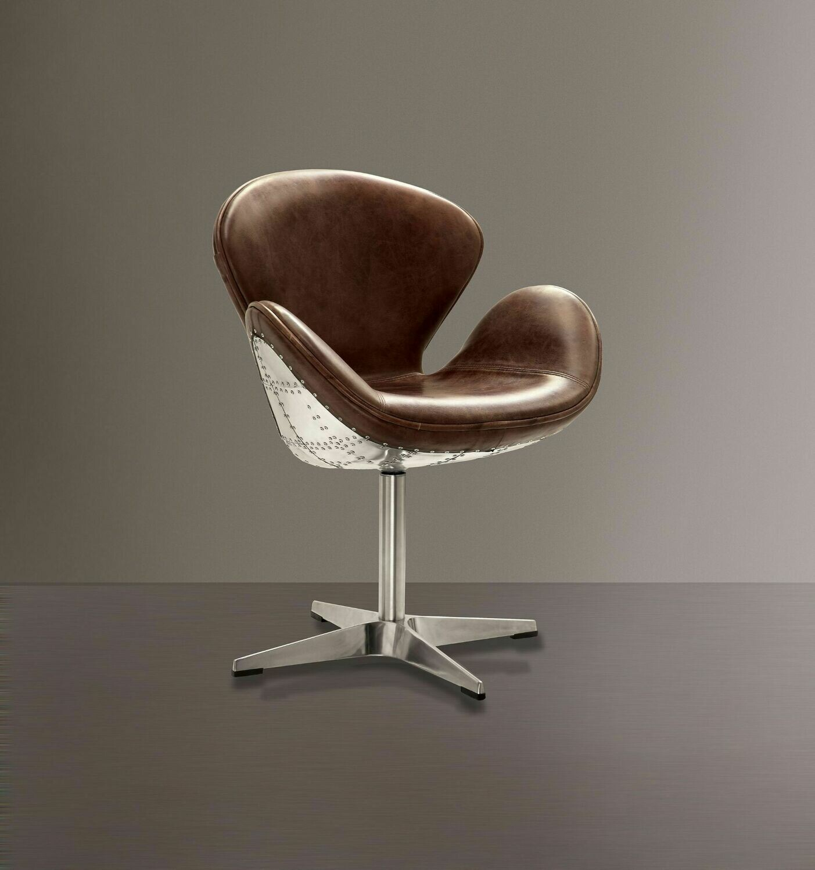 "Brancaster Accent Chair w/Swivel (1Pc) - Retro Brown Top Grain Leather & Aluminum 22"""