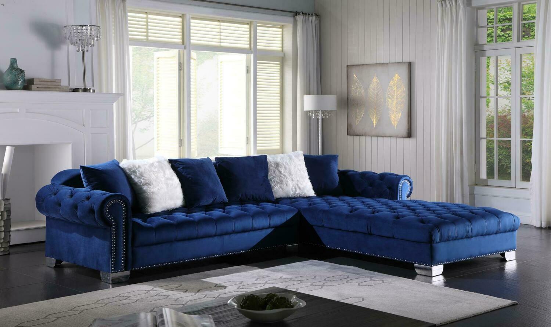 Kylie Blue Velvet Sectional