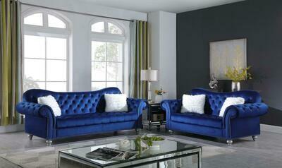 Nylah Blue Velvet Sofa