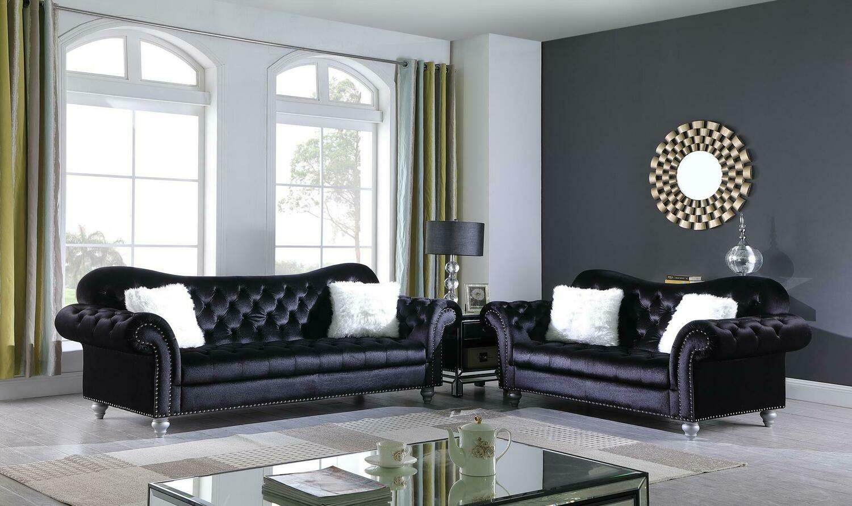 Nylah Black Velvet Sofa