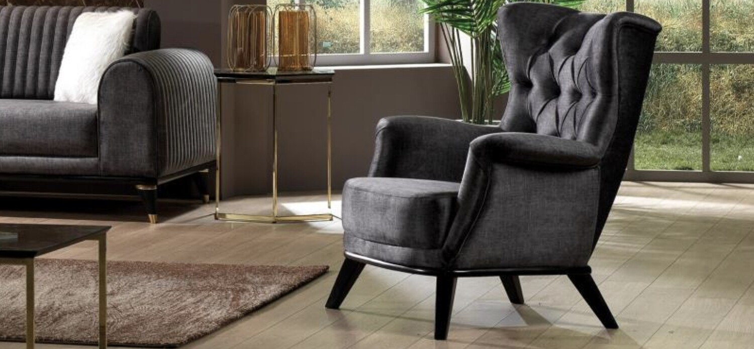Malaado Grey Velvet Chair