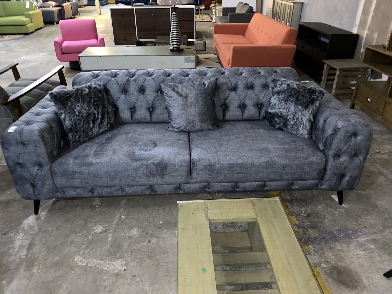 Chester Grey Velvet Sofa