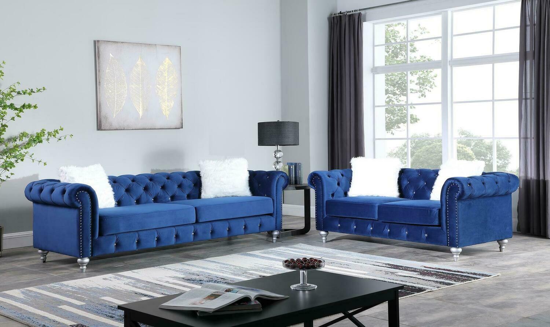 Aya Blue Velvet Sofa
