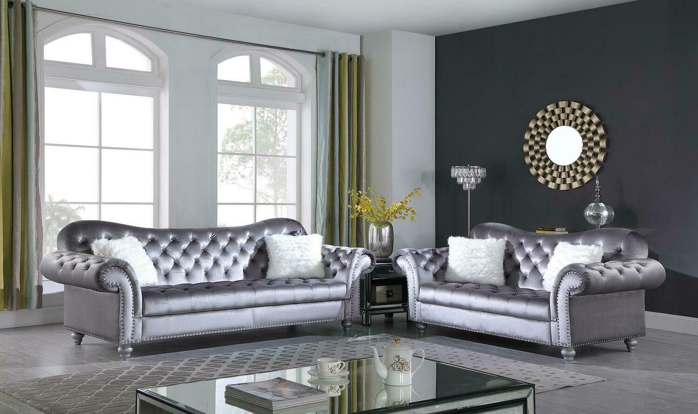 Nylah Grey Velvet Sofa