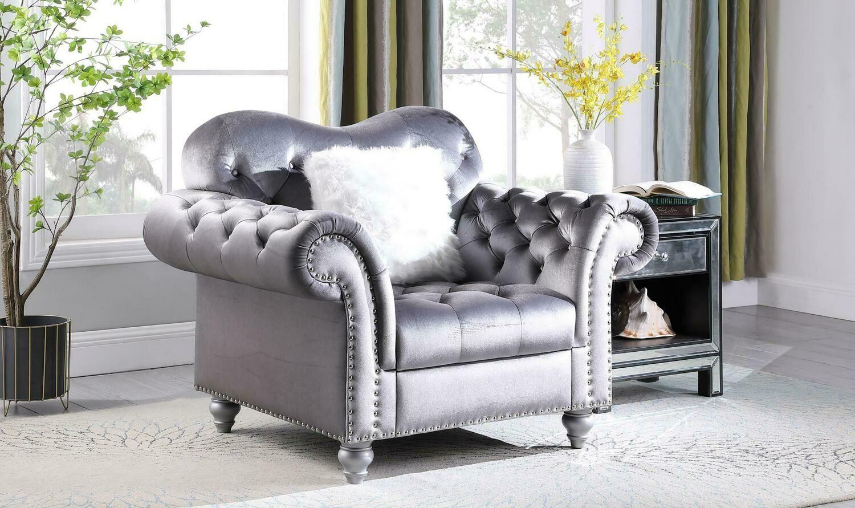 Nylah Grey Velvet Chair