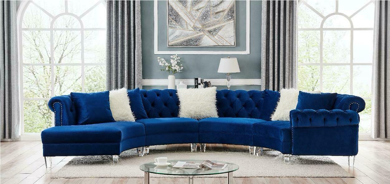 Liliana Blue Velvet Sectional