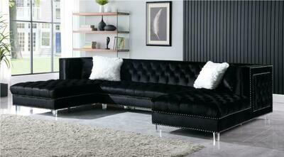 Vienna Black Velvet Sectional