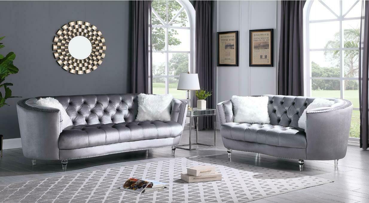 Amora Grey Velvet Sofa