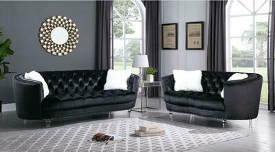 Amora Black Velvet Sofa