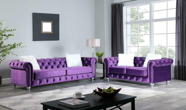 Aya Purple Velvet Sofa