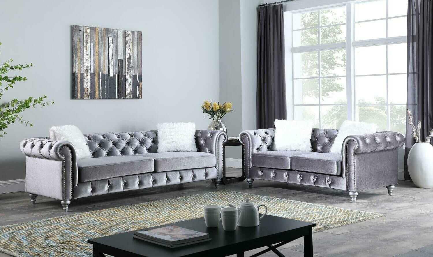 Aya Grey Velvet Sofa