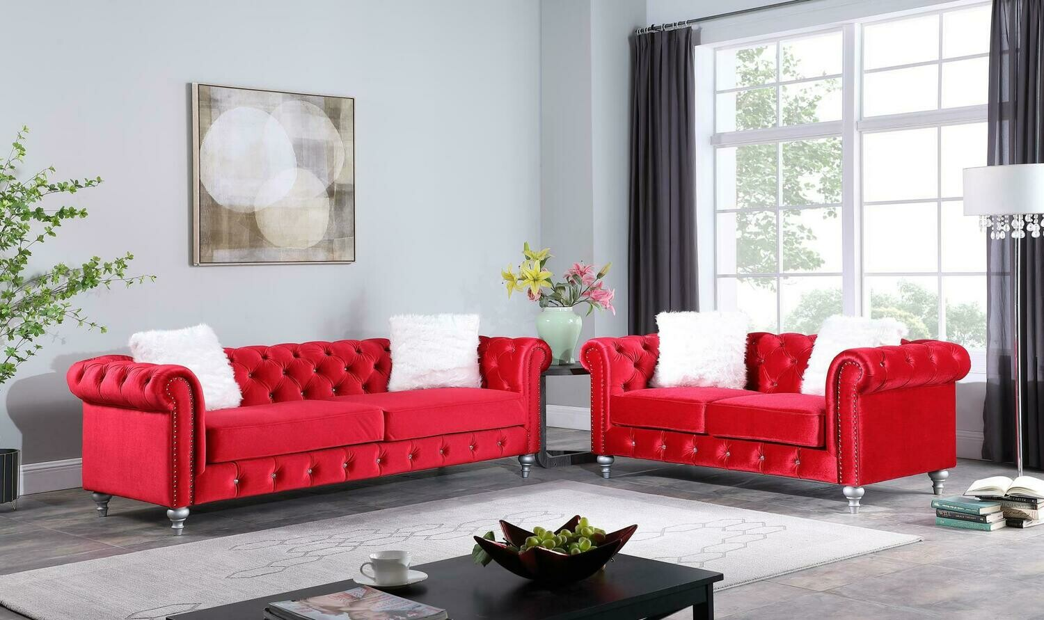 Aya Red Velvet Sofa
