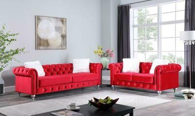 Aya Red Velvet Sofa