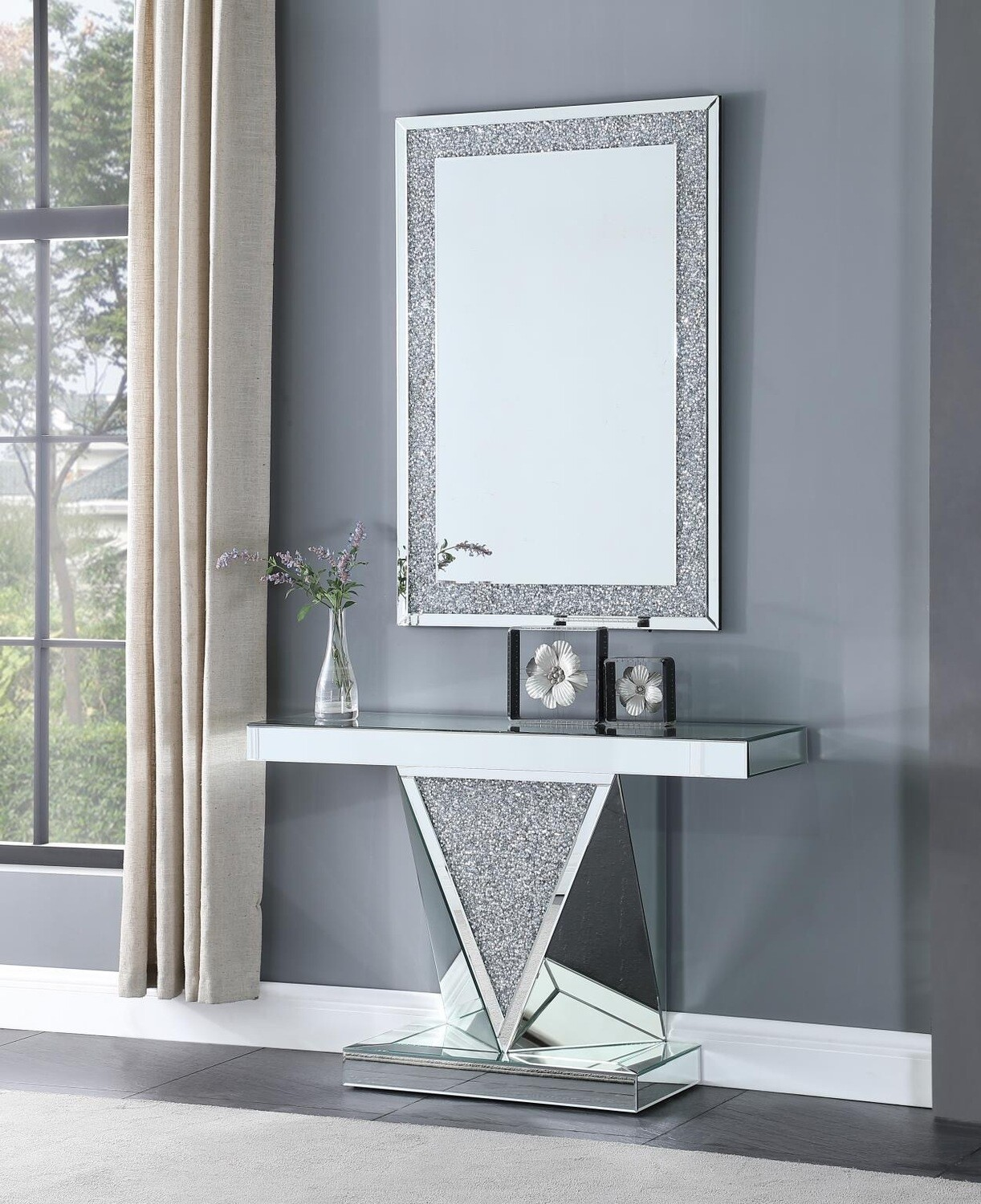 V Mirror Console Table