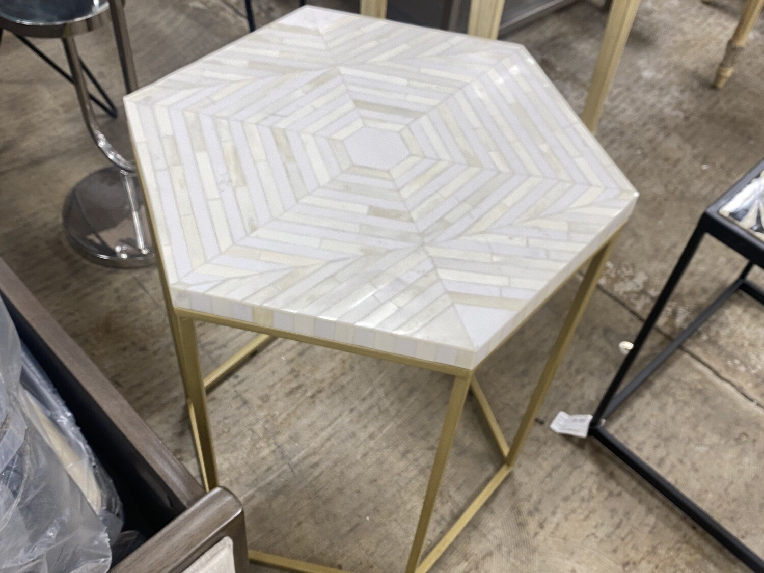 Hexagon White Marble Table