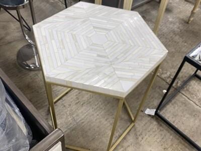 Hexagon White Marble Table
