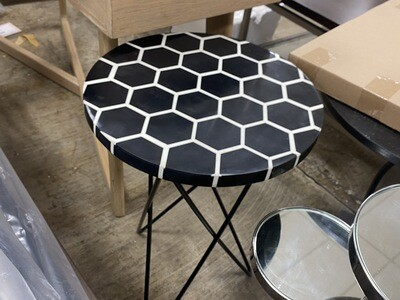 Round Black & White Table