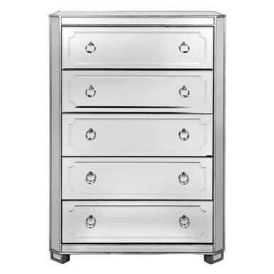 Z Gallerie - Simplicity Mirrored 5 Drawer Tall Chest