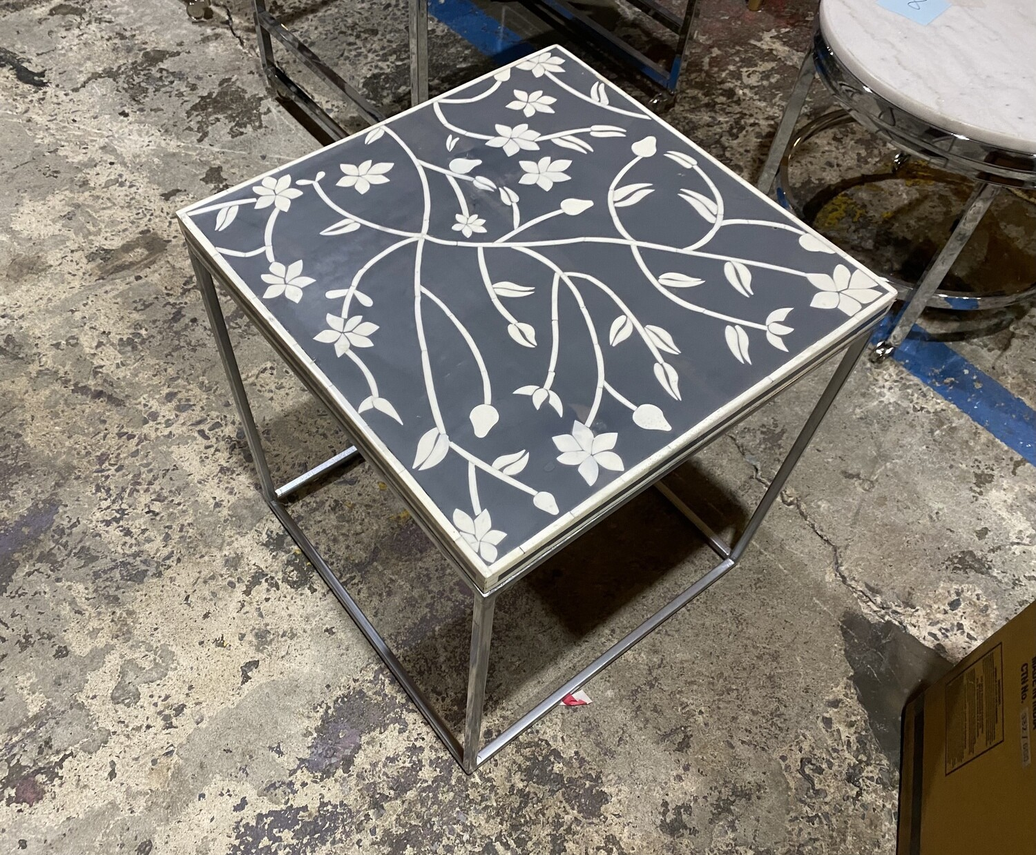 Floral End Table - Grey