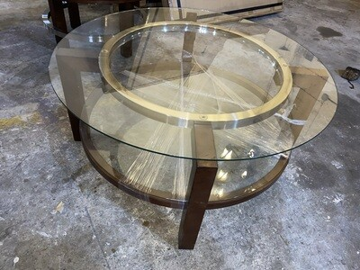 Bassett Mirror Company Thoroughly Modern Oslo Round Cocktail Table in Espresso T1705-120