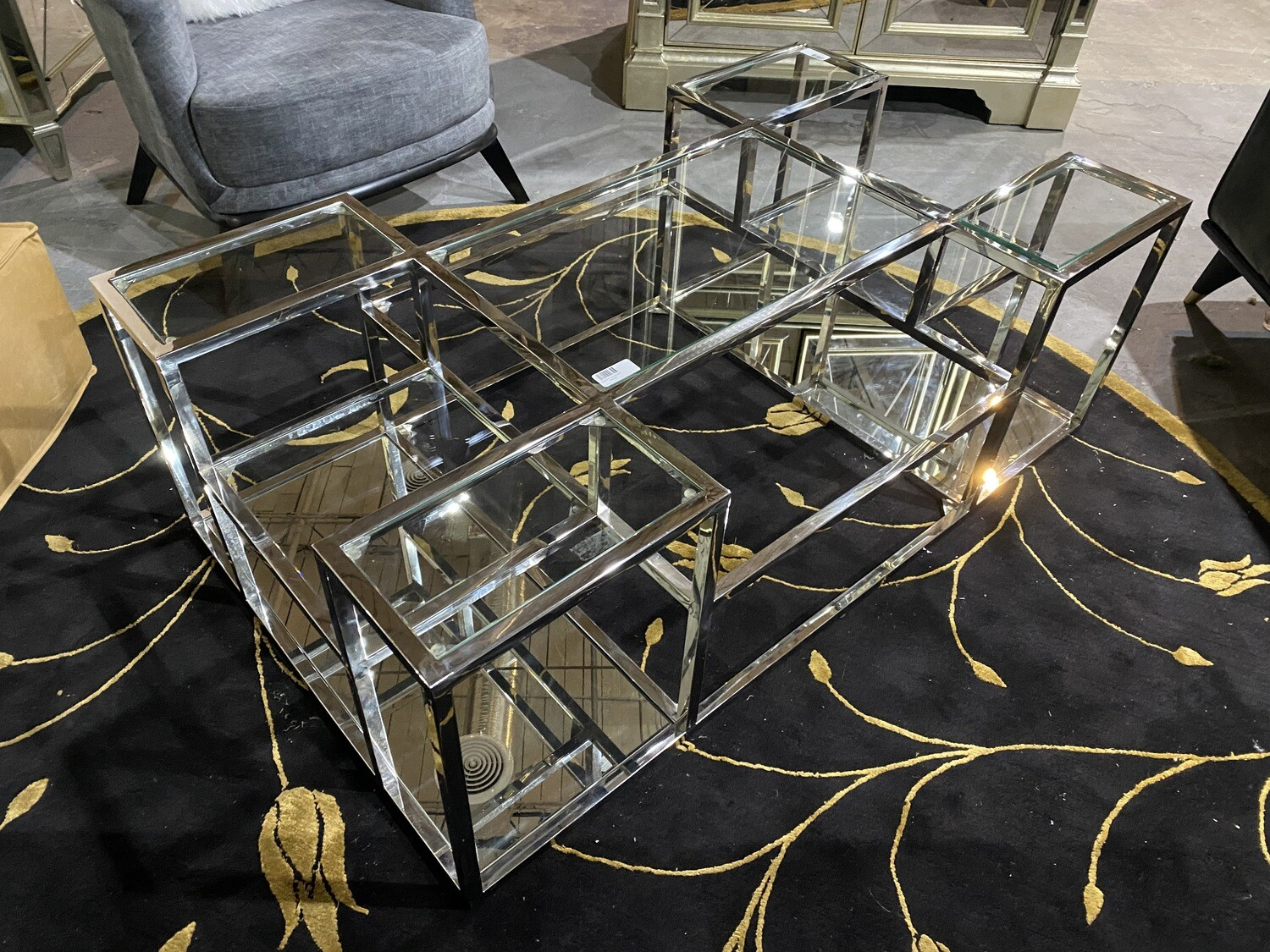 Bassett Mirror Company Callisto Rect Cocktail Table 3318-LR-100 (Mirror & Crome)