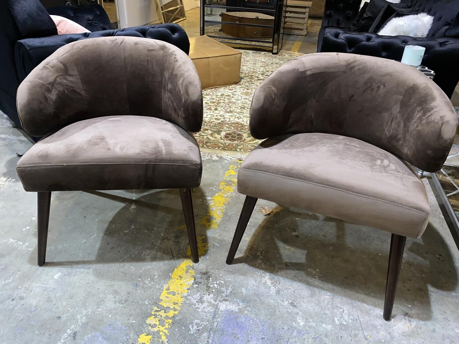 Mid-Century Modern Velvet Accent Chair - Brown (price is for pair)