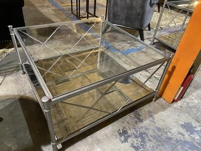 Bassett Mirror Company - 3 Piece Set - Coffee Table & End Tables (Silver/ Mirror)
