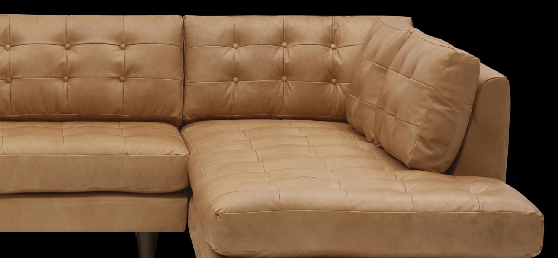 JB Eliot Leather Bumper Chaise (Santiago Camel) 2999