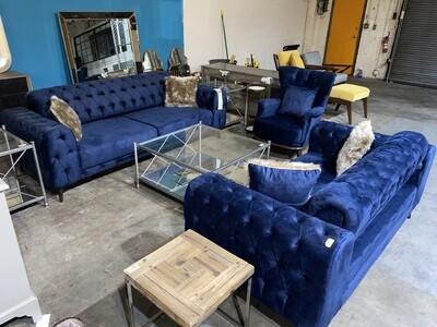Chester Blue Velvet Sofa
