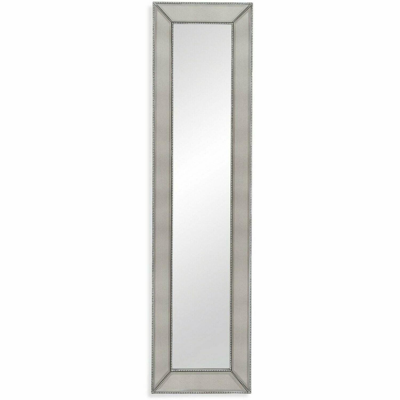 Bassett Mirror Beaded Silver Wood Leaner Mirror (L 20 x H 80)