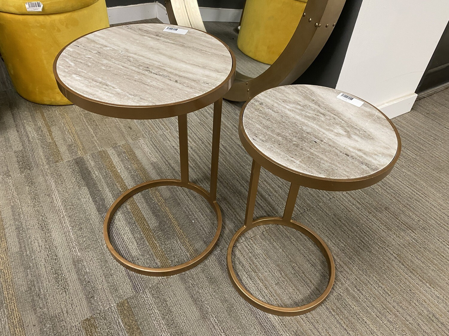 Bassett Mirror Company Marble Nesting Accent Tables (sold as pair)