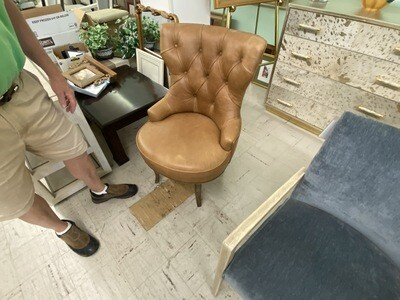 Hooker Furniture Leather Accent Swivel Chair