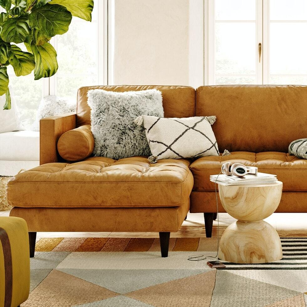 JB Briar Leather Sectional (Santiago Camel)  (Chaise Left Facing) 5185