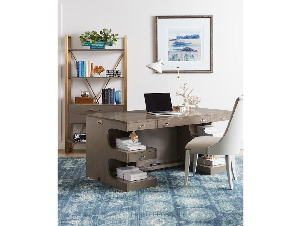 Latitude Writing Desk with Shelves on Back by Stanley Furniture (Grey Birch) 927-65-03