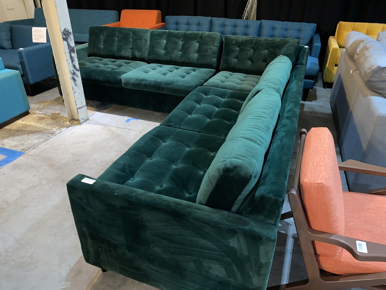 JB Eliot Corner Sectional Sleeper (3 piece) Royale Evergreen 5885