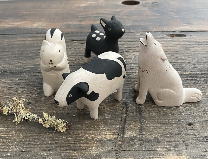 Hand Carved Wood Animal for Little Hands