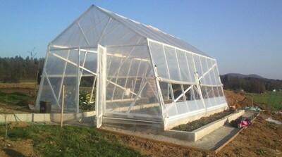 SLO-Qualität PVC-Gewächshaus mit Folie - Breite 4m oder MASSNAHMEN WIE GEWÜNSCHT