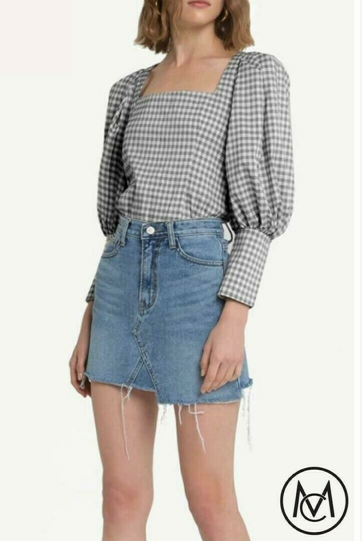 Checkered Superpuff Top