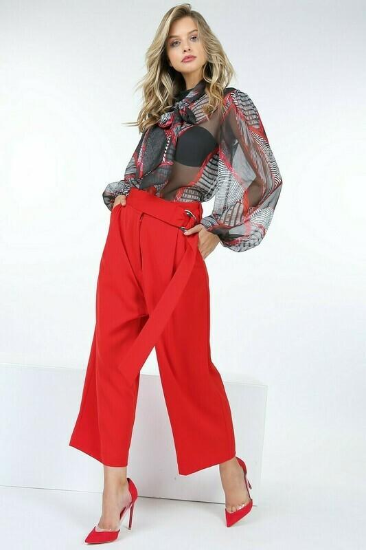 Red Buckle Belt Wide Leg Pants