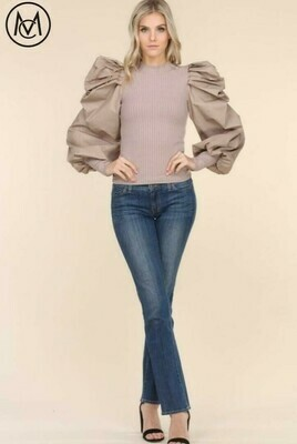 Puff Sleeve Rib Top