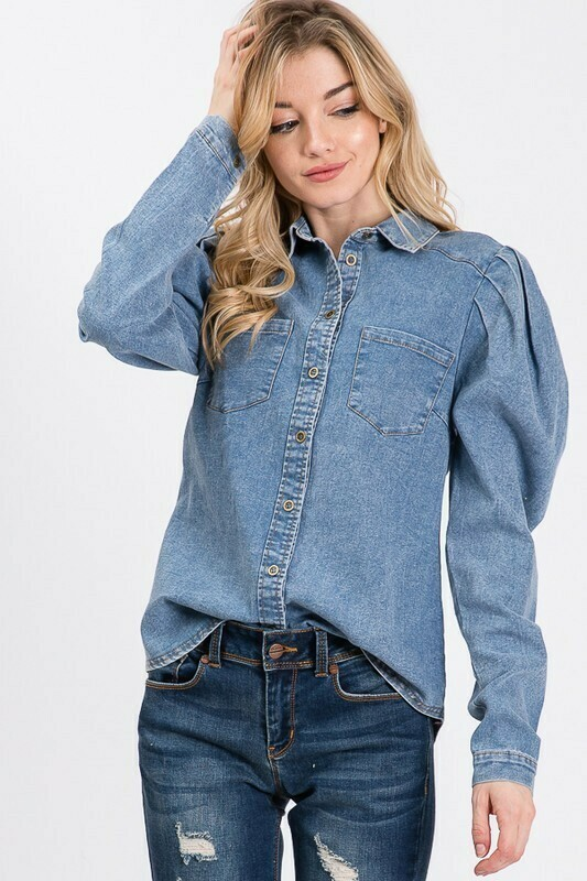 Denim puff sleeve shirt