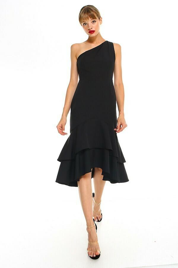 Off Shoulder Ruffle Black Dress