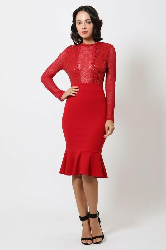 Valentine Sequin Midi Dress