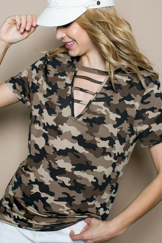Strappy Neck Camo Tees